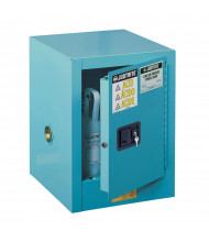 Just-Rite Sure-Grip EX 890422 Countertop Self Close One Door Corrosives Acids Steel Safety Cabinet, 4 Gallons, Blue (manual closing door shown)