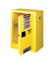 Justrite Sure-Grip EX Compact 12 Gal Self-Closing Flammable Storage Cabinet (Shown in Yellow)