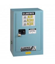 Just-Rite Sure-Grip EX 891522 Compac Self Close One Door Corrosives Acids Steel Safety Cabinet, 15 Gallons, Blue (manual closing door shown)