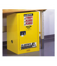 Justrite Sure-Grip EX Compact 12 Gal Self-Closing Flammable Storage Cabinet (Shown in Yellow, padlock not included)