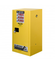 """Justrite Sure-Grip EX Compac 15 Gal Flammable Safety Storage Cabinet, 44"""" H (Show in Yellow, Padlock Not Included)"""
