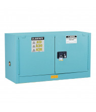 Just-Rite Sure-Grip EX 891722 Piggyback Self Close Two Door Corrosives Acids Steel Safety Cabinet, 17 Gallons, Blue (manual closing doors shown)