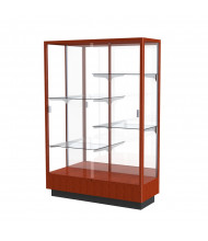 "Waddell Heritage 891K Series Sliding Glass Door Floor Display Case 48""W x 70""H x 18""D (Shown as Cherry Oak / Mirror)"