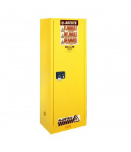 Justrite Sure-Grip EX Slimline 22 Gal Flammable Storage Cabinet (Shown in Yellow, Padlock Not Included)