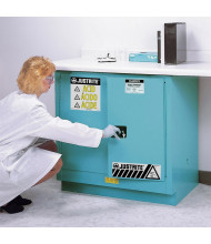 Just-Rite ChemCor 8923222 Undercounter Self Close Two Door Corrosives Acids Safety Cabinet, 22 Gallons, Blue (manual close shown)