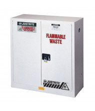 Just-Rite 8945253 Flammable Waste Self Close Two Door Safety Cabinet, 45 Gallons, White (manual closing shown)