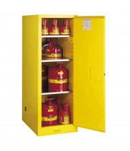 Justrite Sure-Grip EX Deep Slimline 54 Gal Flammable Storage Cabinet (Shown in Yellow, Safety Cans Not Included)