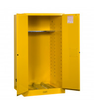 Justrite Sure-Grip EX 55 Gal Fire Resistant Drum Storage Cabinet with Drum Support (Shown in Yellow)