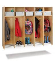 Jonti-Craft 5-Section Hanging Locker, Platinum Tubs