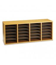 Safco 24-Compartment Adjustable Wood & Laminate Mail Sorter, Medium Oak