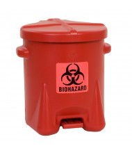 Eagle 943BIO 6 Gallon Polyethylene Biohazard Waste Safety Can with Foot Lever, Red