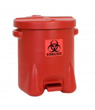 Eagle 947BIO 14 Gallon Polyethylene Biohazard Waste Safety Can with Foot Lever, Red