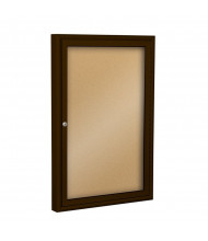 Best-Rite 94PCB-O Outdoor 1 Door 2 x 3 Coffee Enclosed Bulletin Board Cabinet (Shown in Natural Cork)