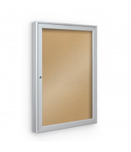 Best-Rite 94PSU-O Outdoor 1 Door 2.5 x 3 Silver Enclosed Bulletin Board Cabinet (Shown in Natural Cork)