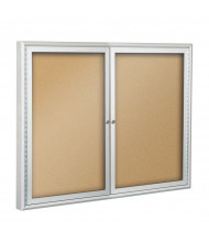 Best-Rite Outdoor 2 Door 4 x 3 Silver Enclosed Bulletin Board Cabinet (Shown in Natural Cork)
