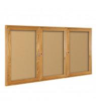 Best-Rite 94HWG Wood Trim 3 Door 6 ft. x 4 ft. Oak Bulletin Board Cabinet