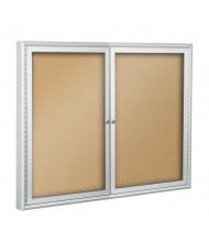 Best-Rite 95HAD Deluxe Indoor 4 x 4 Enclosed Bulletin Board Cabinet (Shown in Natural Cork)