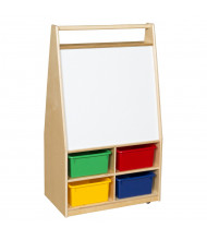Wood Designs Double Sided Magnetic Markerboard Art Center with Trays (Shown with Assorted Trays)