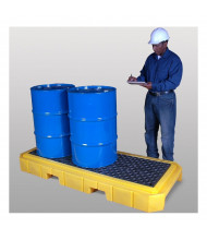 "Ultratech 9627 P3 Plus 83"" W x 34.5"" L Spill Pallet with Drain, 66 Gallons (example of application)"