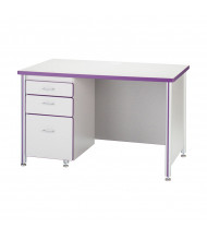 "Jonti-Craft Berries 48"" W Single Pedestal Teachers Desk - Shown in Purple"