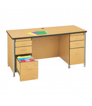 "Jonti-Craft Berries 66"" W Double Pedestal Teachers Desk (Shown in Oak)"