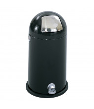 Safco 9 Gal. Step-On Dome Trash Receptacle, Black/Silver