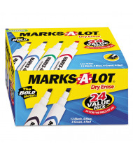 Marks-A-Lot Desk Dry Erase Marker, Chisel Tip, Assorted, 24-Pack