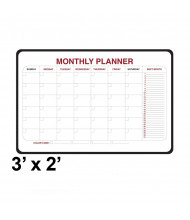Ghent 984515 3 ft. x 2 ft. Monthly Black Vinyl Frame Dry Erase Planning Whiteboard