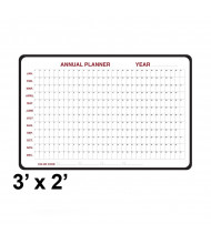 Ghent 984517 3 ft. x 2 ft. Annual Black Vinyl Frame Dry Erase Planning Whiteboard