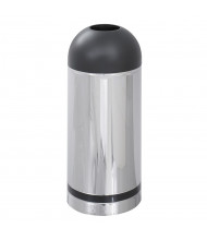 Safco Reflections 15 Gal. Open Top Dome Trash Receptacle, Chrome/Black