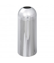 Safco Reflections 15 Gal. Open Top Dome Trash Receptacle, Chrome