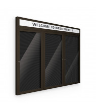 Best-Rite 98PC2-OH Headline Outdoor 3 Door 6 ft. x 3 ft. Coffee Enclosed Directory Board Cabinet