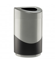 Safco 14 Gal. Open Top Trash Receptacle, Black/Silver