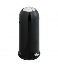 Safco 14 Gal. Step-On Shutter Trash Receptacle, Black/Silver