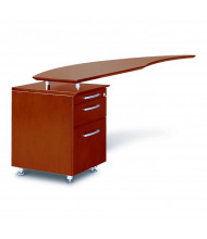 "Mayline Napoli NRTPL 63"" W Curved Desk Return with Pedestal, Left (Shown in Sierra Cherry)"