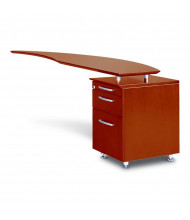 "Mayline Napoli NRTPR 63"" W Curved Desk Return with Pedestal, Right (Shown in Sierra Cherry)"