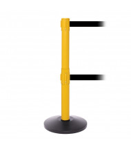 SafetyPro Twin Outdoor Safety Belt Barrier Stanchion (Shown in Yellow with Black Belts)