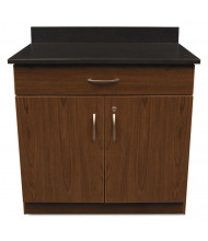 "Alera Plus 36"" W x 24"" D 2-Door/Drawer Hospitality Cabinet (Shown in Cherry/Granite Nebula)"
