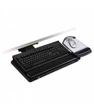"3M 17-3/4"" Track Lever-Knob Adjustable Keyboard Tray with Platform, Black"