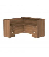 "Cherryman Amber 71"" W Wood Counter Double Pedestal L-Shaped Reception Desk (Shown in Walnut)"