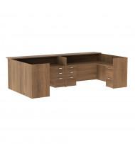 "Cherryman Amber 142"" W Wood Counter Pedestals U-Shaped Reception Desk (Shown in Walnut)"