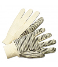 Anchor PVC-Dotted Canvas Gloves, White, One Size Fits All, 12/Pairs
