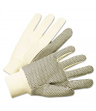 Anchor 1000 Series PVC Dotted Canvas Gloves, White/Black, Large, 12/Pairs