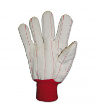 Anchor Brand Heavy Canvas Gloves, White/Red, Large, 12/Pair