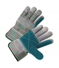 Anchor Brand 2000 Series Leather Palm Gloves, Gray/Green/Red, Large, 12/Pair