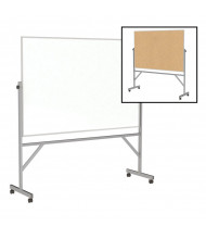 Ghent ARMK46 Acrylate/Natural Cork 6 ft. x 4 ft. Aluminum Frame Reversible (Both Sides Shown)