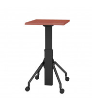 "RightAngle Arriba 30"" L x 36"" W Laminate Top Gas Lift Adjustable 27"" - 44"" H Table Cherry Shown with cases"