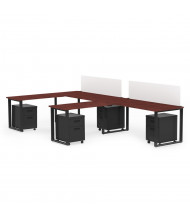 "Marvel Aire 72"" W 2-Unit Mobile Pedestal Return Modular Workstation (Shown in Mahogany/Black)"