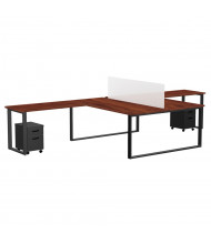 "Marvel Aire 60"" W 2-Unit Mobile Pedestal Return Modular Workstation (Shown in Mahogany/Black)"