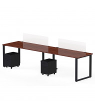 "Marvel Aire 60"" W 2-Unit Mobile Pedestal Modular Workstation (Shown in Mahogany/Black)"